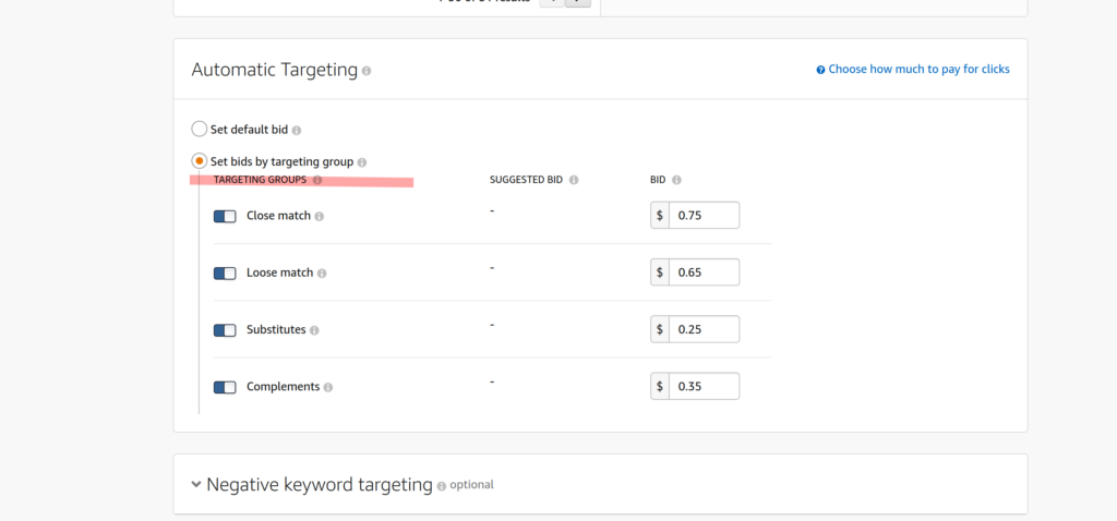 amazon ppc auto campaigns bid by target
